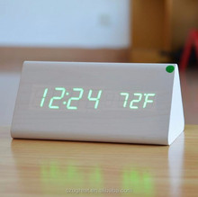digital table wooden alarm clock, triangle desk led alarm wooden clock