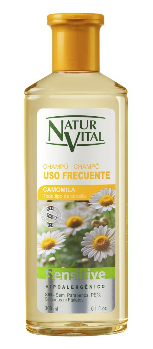 Frequent Use Shampoo -Camomile -Hypoallergenic-All Kinds of hair -Specially suitable for blonde or fragile hair. 300 Ml-10.1 oz / Natural & Organic.