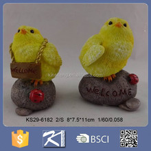 Fashion style resin rooster with fur for new year symbol