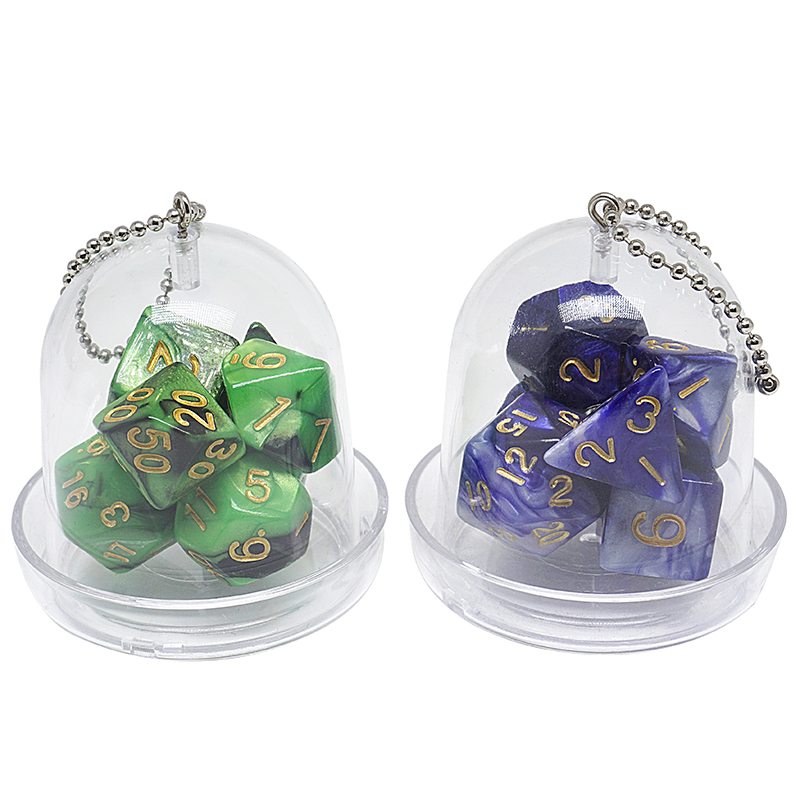 Polyhedral Dice 7pcs Set  Two color Gemini, RPG Dice Set d4 d6 d8 d10 d12 d20 d%, Brick Box Packaging