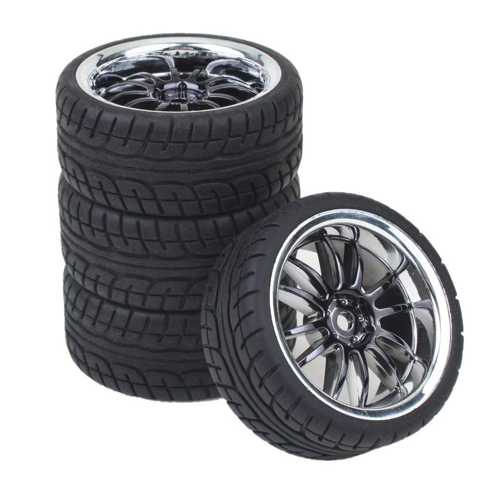 Shaluoman 12-Spoke Plating Hub Wheel Rims with Soft Rubber Tires for RC 1:10 On Road Car Color Black