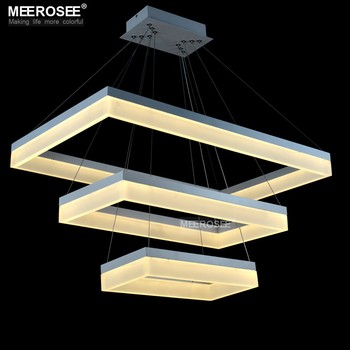 Acrylic Led Pendant Light Modern Rectangle Design Black Suspension ...