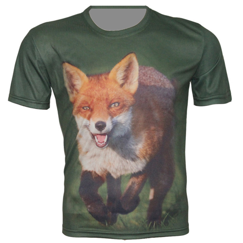 3D Show FT022 New Fashion Men's Green Color Cool T Shirt 2015 Summer Casual 3d t-shirt Funny Tops Animal Run Dog Brand Design