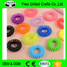 6pcs NEW TELEPHONE WIRE STYLE HAIR BANDS SPRING ELASTICS COILED BOBBLE BUNN NEON