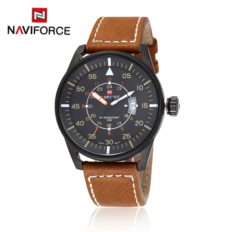 7693f0d321f Naviforce 9044 Pulseira de Couro Relógios de Pulso Homens Analógico Japão Quartzo  Top Marca de Luxo
