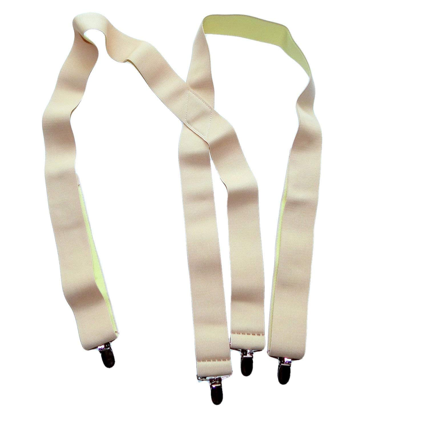 "Solid Beige Hold-Ups XL Undergarment Suspenders 1 1/2"" wide X-back Style, No-slip Metal Clips"