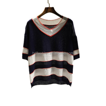 Custom Spring Summer Light Weight And Breathable Womens Knit Half