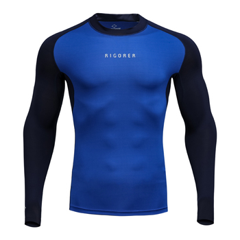 Rigorer Men's GYM fitness clothing long sleeve quick dry  sports wear compression shirt
