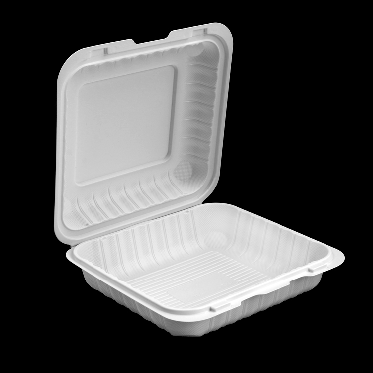eco friendly disposable biodegradable Hinged Lids tiffin food take out container box