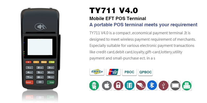 Mobile Eft Pos Payment Terminal Mpos Tyhestia 711 V4.0 Handheld ...