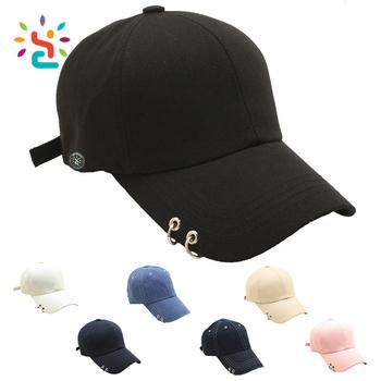 4d6eaf514aec6 Metal ring pierced cap long bill mens baseball caps custom blank snapback  sports hat wholesale custom
