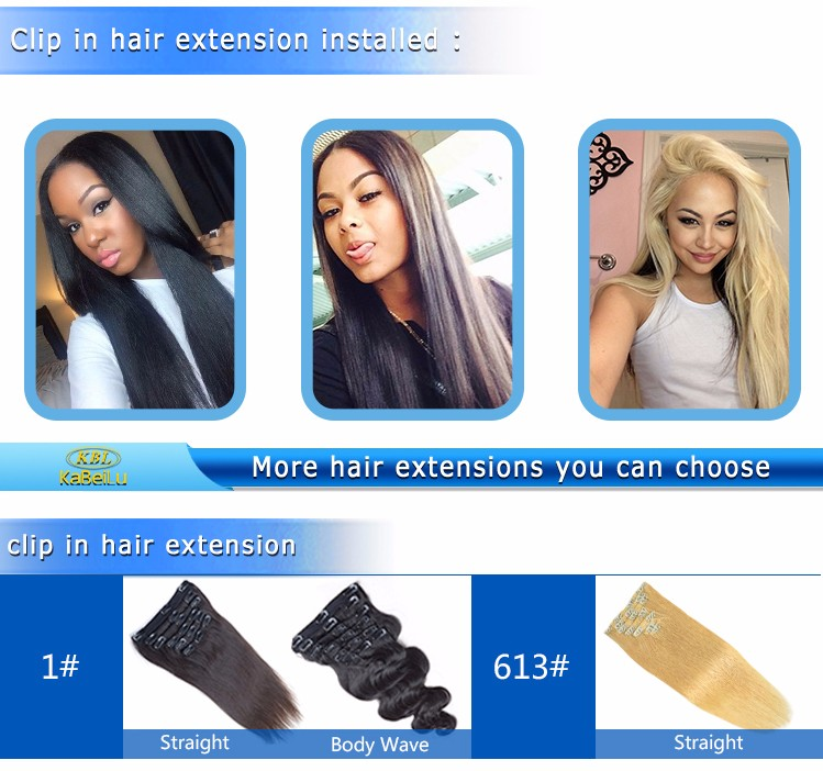 KBL wholesale one piece clip in human hair extensions for black women,ponytail clip in hair extensions for black women