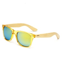 STOCK Unisex UV400 CE Custom Bamboo 안경다리 PC frame Sun Glasses