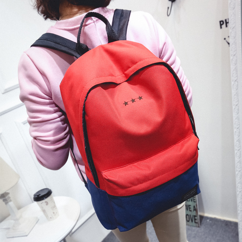 STXL 2017 Korean new backpack female couple embroidered stars student backpack