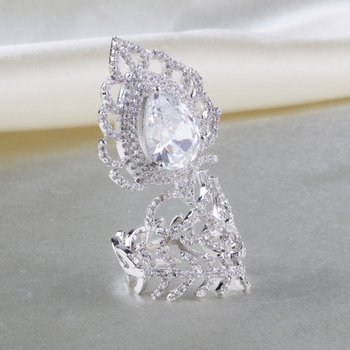 Silver Plated Thailand Style Hot Sell Lady Finger Diamond Rings
