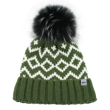 Acrylic jacquard knit warm ski hat cap with faux fur pompom