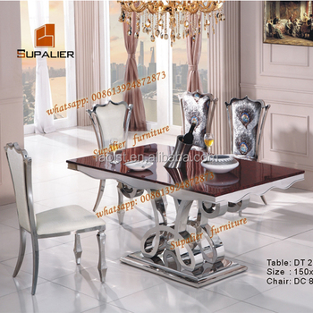 Luxury Italian Marble Stainless Steel Dining Table Design