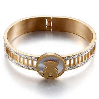 Wholesale Stainless Steel White Shell Bear Bangle Womens Yellow Gold Diamond Bracelet