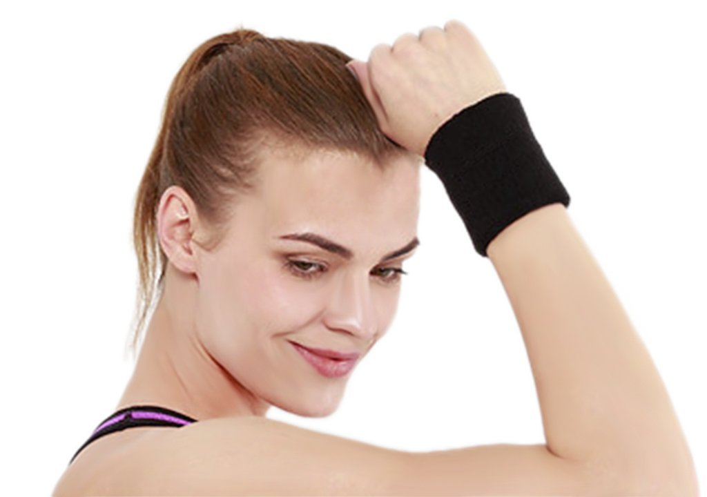 Sports Athletic Wristband for Women Men, Moisture Wicking Cotton Terry Cloth Stretch Sweat Wrist Arm Band Brace Wrap for Tennis Basketball Running Workout Yoga Gym Fitness Footabll Sweatband Wristband