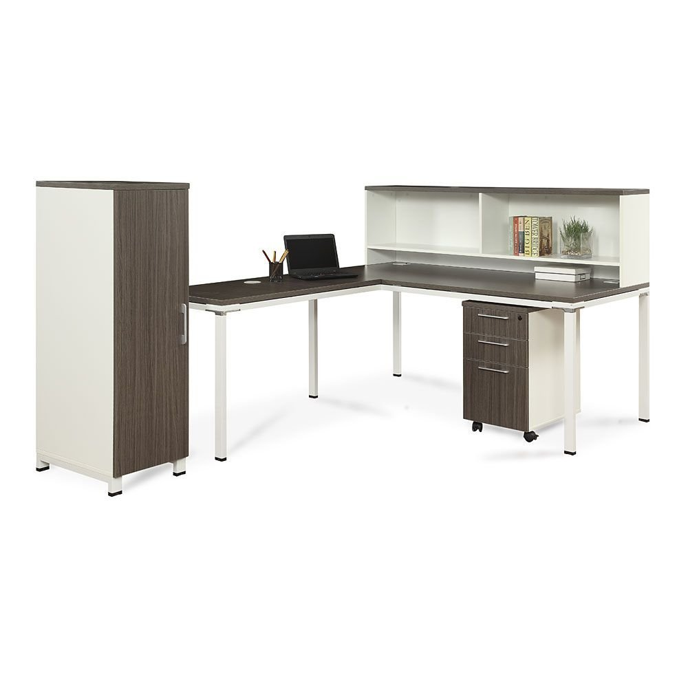 "72""W L-Desk with Hutch, Pedestal and Wardrobe Storage Driftwood Laminate Top and Drawers/Beige Fabric/White FramesWeight: 422 lbs."