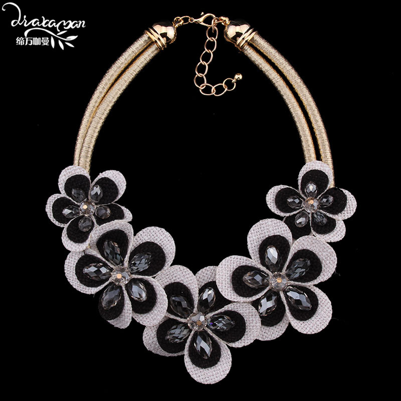 Dvacaman Brand 2016 Vintage Rope Chain Choker Collar Collier Fashion Za Flower Statement Necklace Women Jewelry Accessories T71