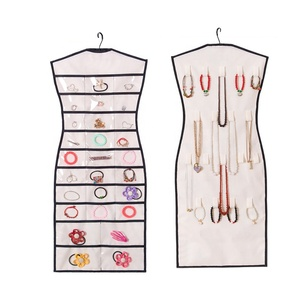 Hot selling Non woven fabric Hanging Jewelry Organizer with Clear Pockests