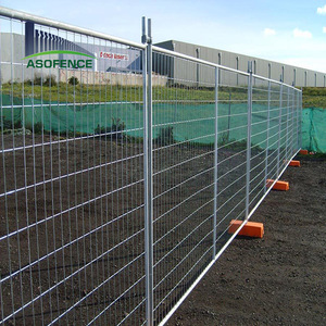 Construction Temporary Fence Panel with Couplers, fencing stay support, plastic concrete filled feet