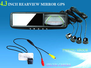 Car Rear View Mirror GPS with DVR,Radar Detector, Bluetooth,Wireless Camera