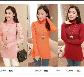 Korean style simple lace cheap winter long high neck women fashion fancy  knitwear custom ladies sweaters