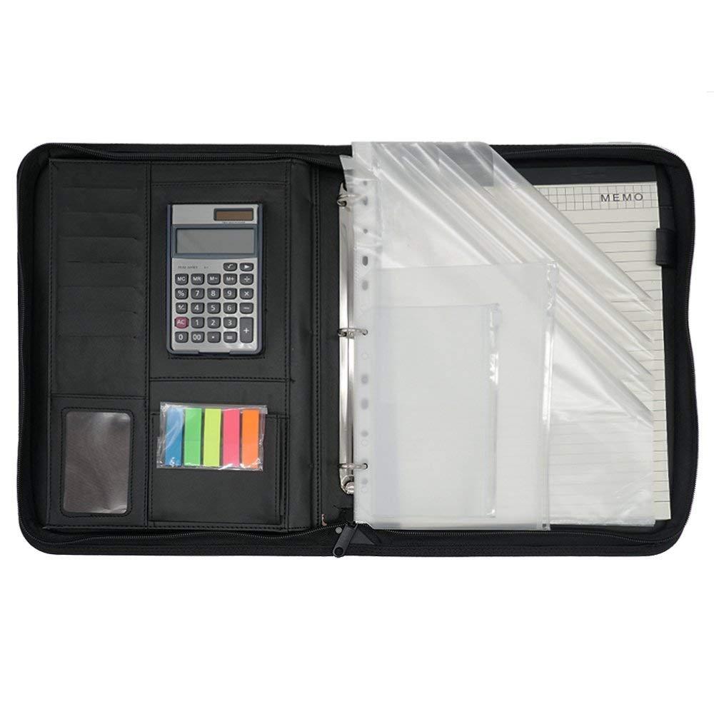 Black Mcbazel 3 Rings Binder A4 Padfolio Leather Documents Organizer Job Business Interview with 12-bit Solar Calculator//A4 Notepad//Penholder//Card Pockets//Transparent Pockets
