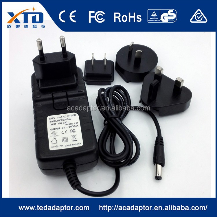 Wholesale With EU AU US UK Interchangeable plugs 12v 1a 1000ma ac ...