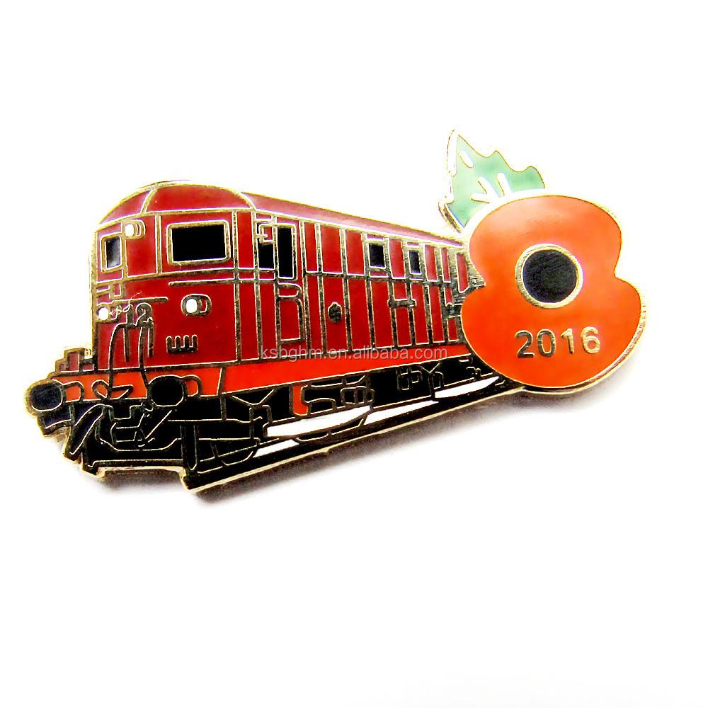 Custom Imitation Hard Enamel Metal Poppy Pin Badge , Custom Enamel Bus Lapel Pin