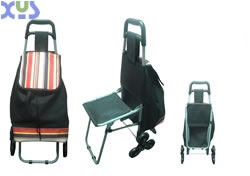 fabric trolley shopping cart with chair