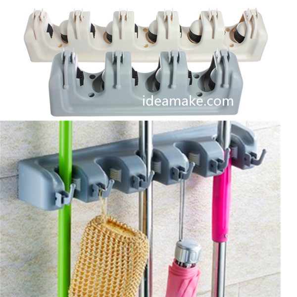 Broom Holder Magic Tool Holder Wall Mounted Storage Rack For Mops And Brooms