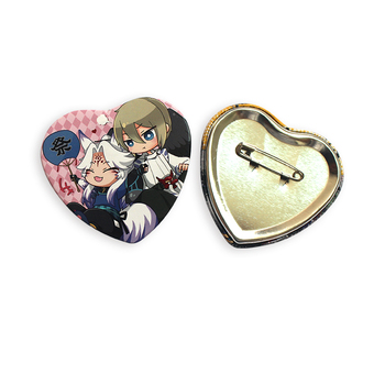China Cheap Heart Shape Tin Badge Button For Advertising