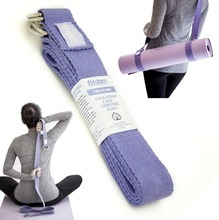 2-IN-1 Yoga Stretching Strap & Mat Carrier. 6 foot Long, 100% Cotton, 4 D-Rings. Perfect Yoga Accessory for Women, Men, Beginner