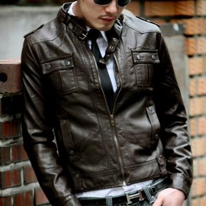 Men's China Collar Leather Jackets [d.brown] Er.lk005 - Buy Men's ...