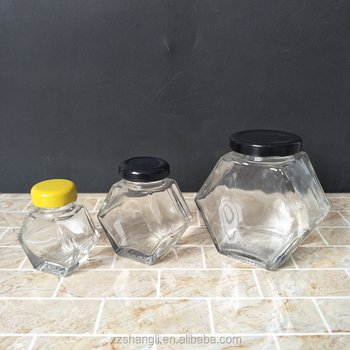 custom hexagon 60ml 150ml 300ml glass jars for jam and honey