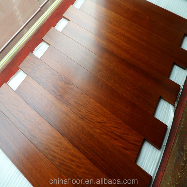 Top grade UV prefinished natural color African Merbau solid wood floor