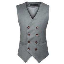 New Fashion Male British Style Slim Cotton Double Breasted Grey Black Sleeveless Jacket Waistcoat Suit Vests Mens Vest