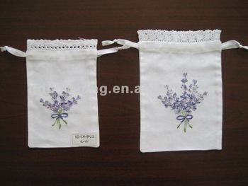 Rich Experience Drawstring Embroidered Lavender Sachet Bag