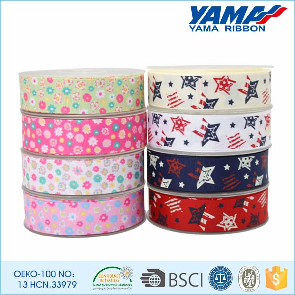 High quality durable polyester star decorative printed grosgrain ribbon