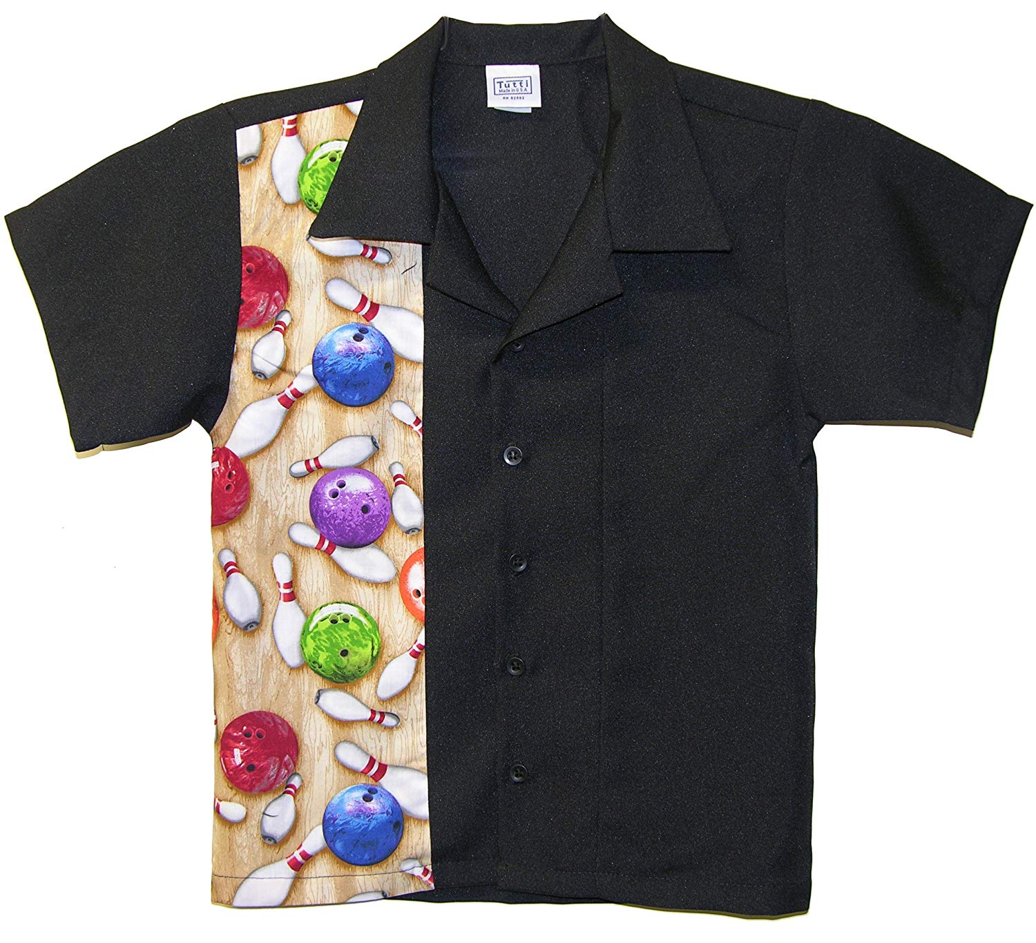 fa8ca673496 Get Quotations · Tutti Kids Bowling Shirt Child Sizes with Bowling Balls  and Pins Design