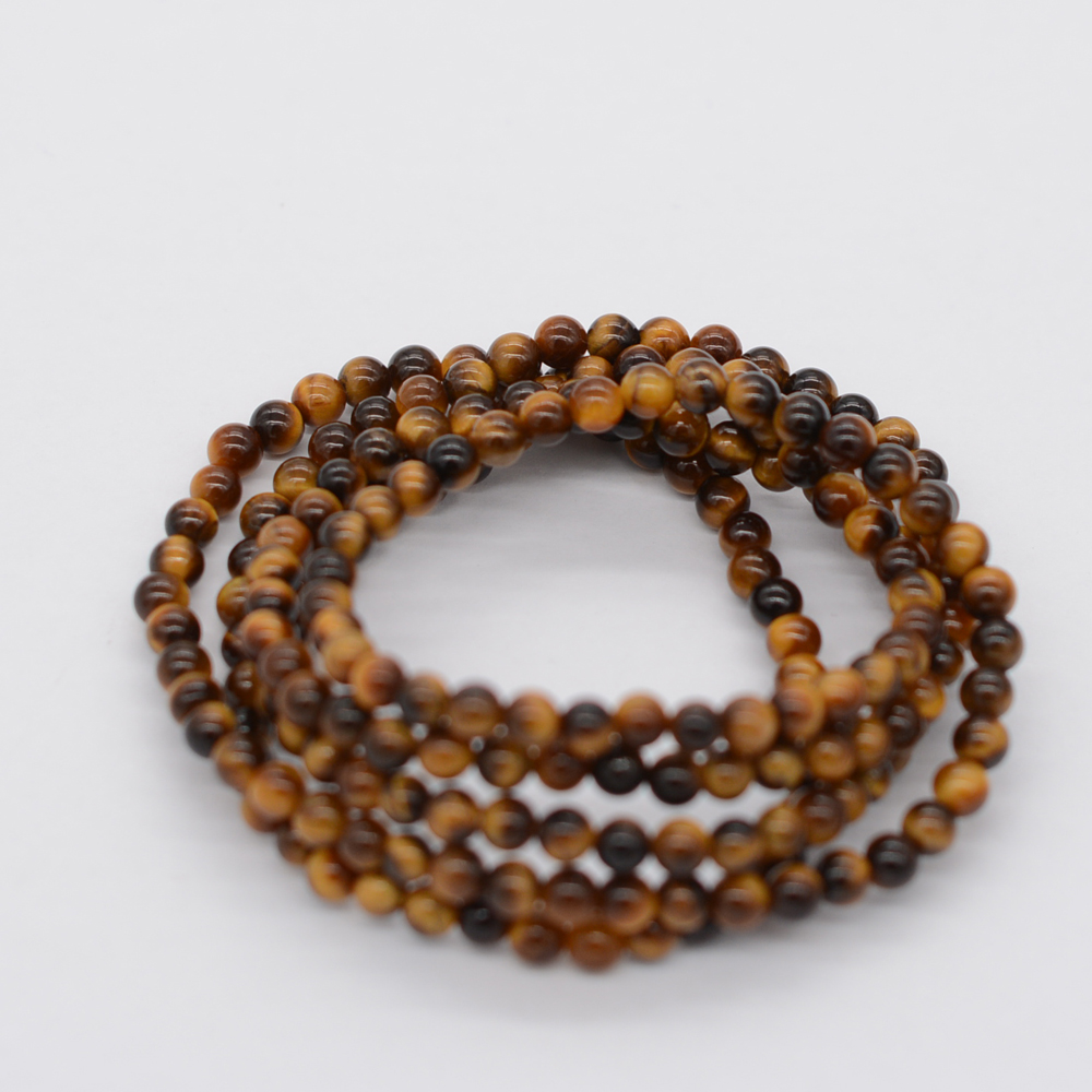 Gemstone Bead Ball Stretch 5 Rows Wrap Bracelet Tiger's Eye For Women