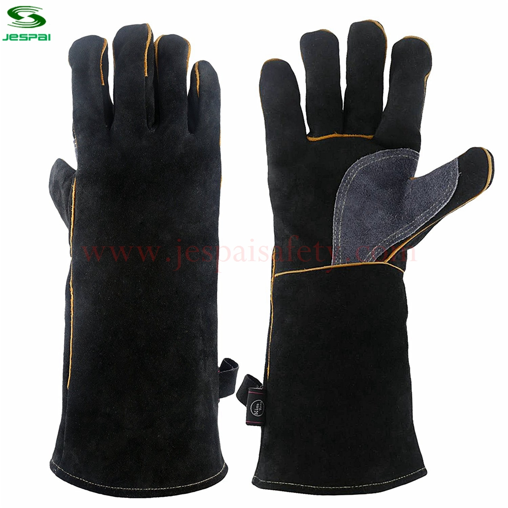 Jespai 16inch Black Gray Cow Split Working Long Welding Gloves
