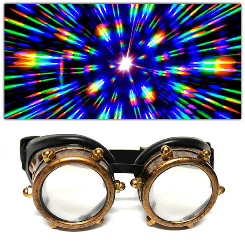 GloFX Padded Diffraction Goggles - Rave Steampunk EDM Welder Gothic Raver Costume Fashion - Chrome Copper White Black