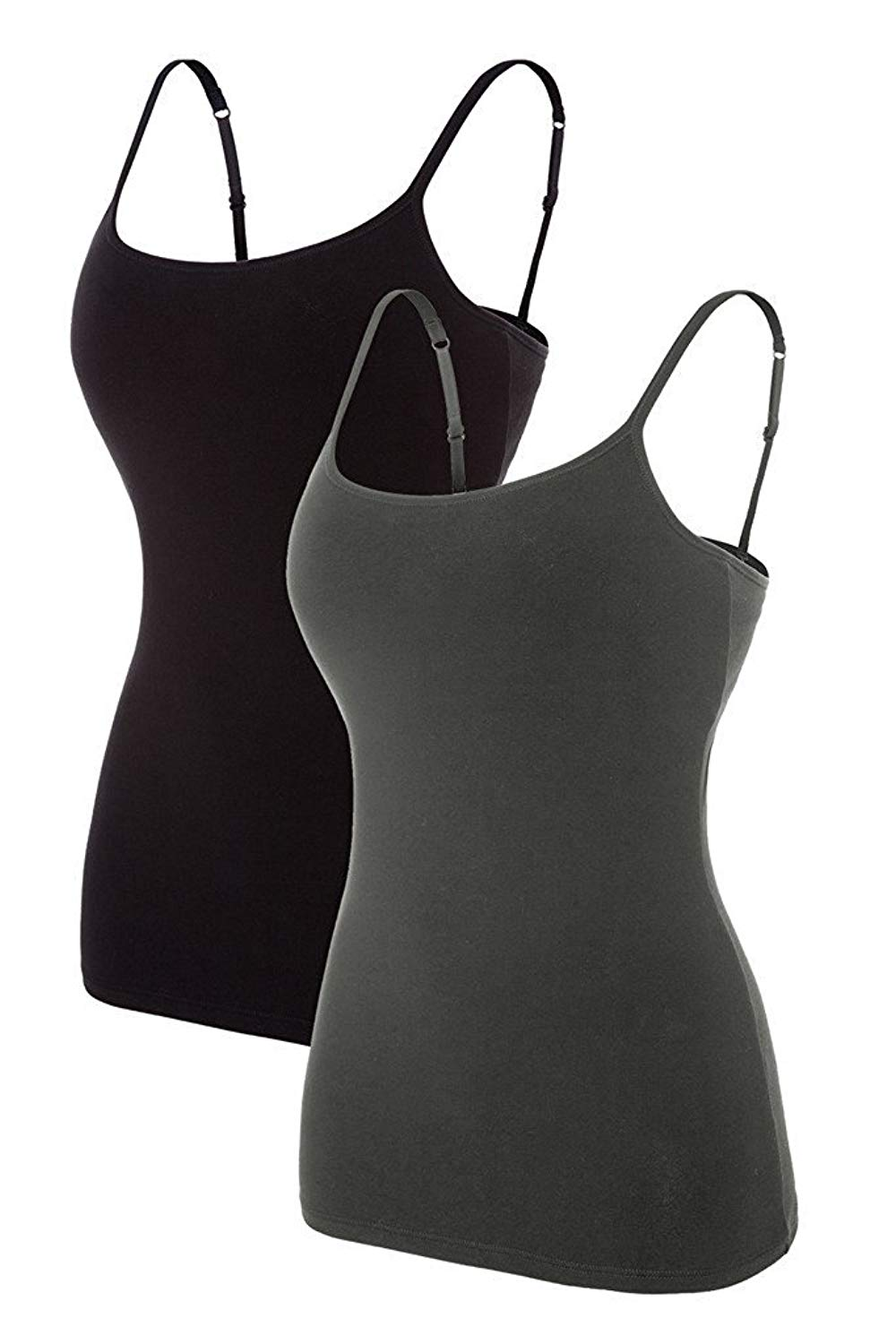 88e403ea70b39 Get Quotations · Maysoul Women Cotton Camisole Shelf Bra Tank Tops  Spaghetti Active Camis 2 Pack