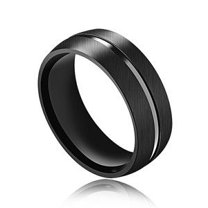 Marlary Fashion Model Male Plated Stainless Steel Ring Blanks Mens Black Ring