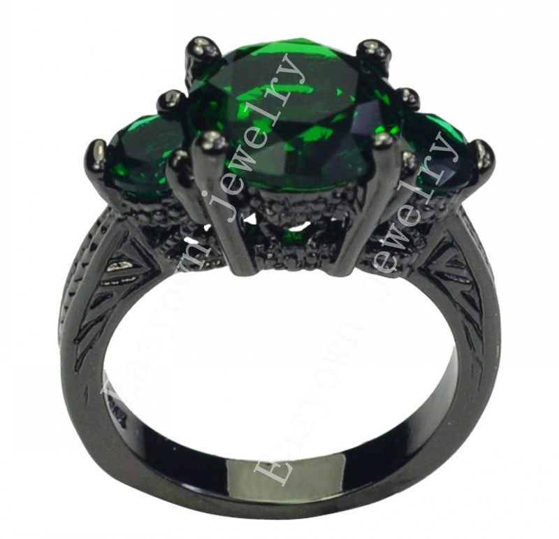 Size 6/7/8/9/10 Women Fashion Jewelry Finger Rings 10KT Black Gold Filled Ring Emerald Zircon High Quality