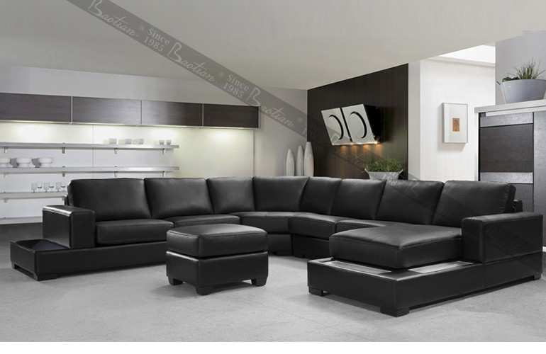 living room furniture sofa set 7 seater big U shape sectional leather sofa set designs